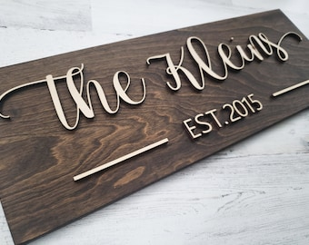 Last Name Sign | Custom Sign | Established Sign | Personalized Rustic Gift | Wedding Gift | 3 D Sign | Family Name Sign | 3 D wood Sign