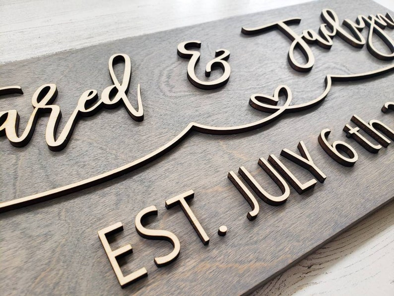 anniversary gift Custom Sign 3 D Sign Last Name Sign special date couples sign 3 D wood Sign 3 D wedding sign Wedding Gift