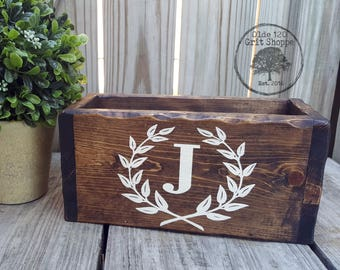 Rustic Wedding Card Box | Laurel Wreath Monogram Initial Card Holder| Wood Card Box | | Rustic wedding card box | wishing well | Money Box