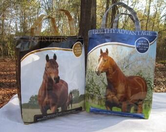 Horse Upcycled Feed Tote Market Bag