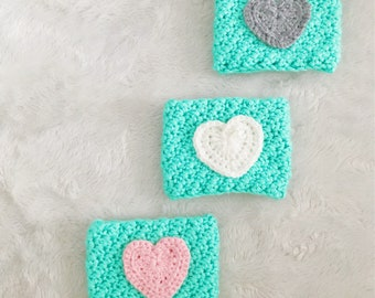 3 Love-Heart Cup Cozies! 1 Elephant Cup Cozy!