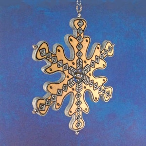 Holiday Beaded Snowflake Ornament3D Woodburned OrnamentLarge Blue /& White Xmas Tree OrnamentWinter SolisticeOne of a KindHandmade in CO