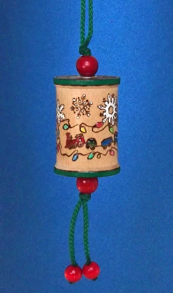 Colorful Christmas.Colorful Christmas Spool Ornament Hanging Tree Ornament Wood Ornament Toy Train Elf Christmas Lights Snowflakes Gift Exchange Handmade In Co