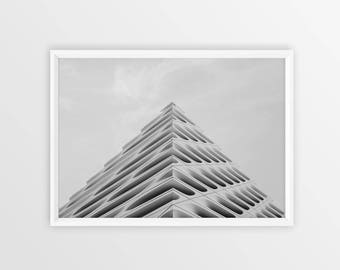 Building Poster - Digital Photography Download - Wall Art - Architectural Photography - Architectural Print - Black and White Photography