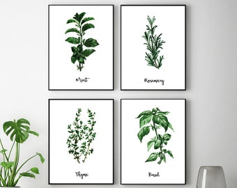 Herb Prints, Herb Wall Art, Watercolor, Herbs Poster, Botanical Prints,  Herb Paintings, Dining Room Wall Art, Herb Wall Decor, Printable Art