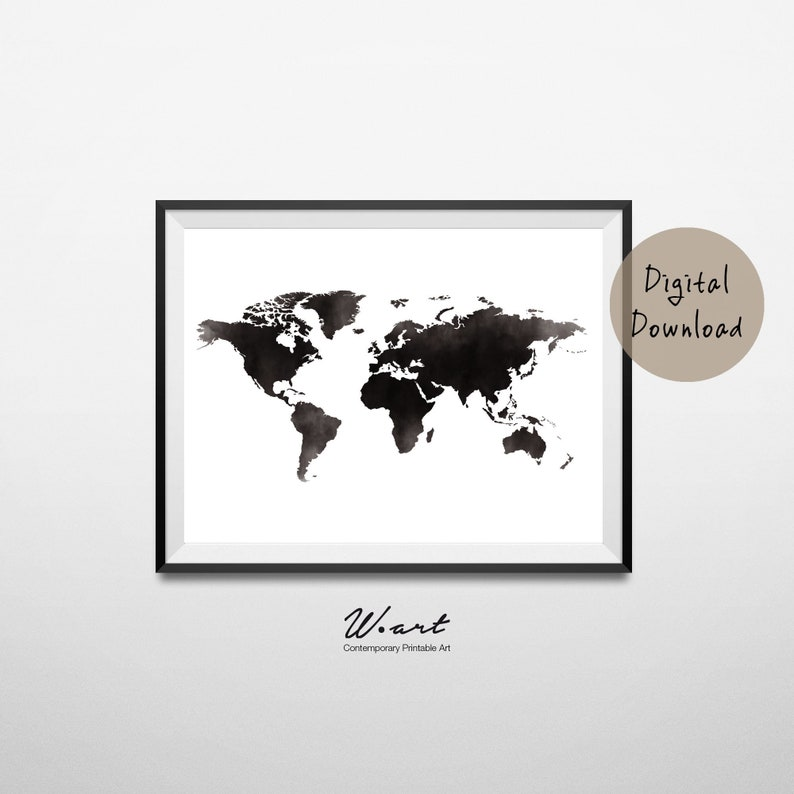 Watercolor World Map World Wall Art World Map Poster Black Etsy