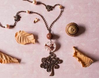 Tree of life pendant - Tree of life - Tree - Owl necklace - Owl - Owl pendant - Goldstone . Long necklace - Gemstone necklace