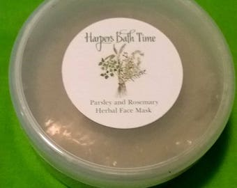 Face Mask. Parsley and Rosemary Organic, Gel Face Mask, Natural Face Mask
