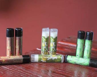 Organic lip balm, honey lip balm, Herbal Mint lip balm, Free Shipping