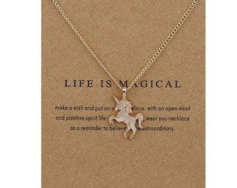 unicorn Pendant Necklace, Unicorn Inspirational Necklace, Free Shipping