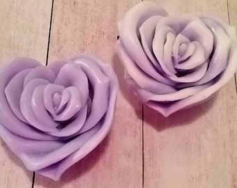 Valentines Day Rose Soaps Heart Shape, Tea Rose Scented