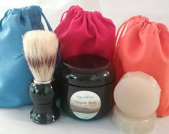 Shave Brush and Bowl Shaving and Grooming Kit with Shave Pucks, or Replacement Pucks Only