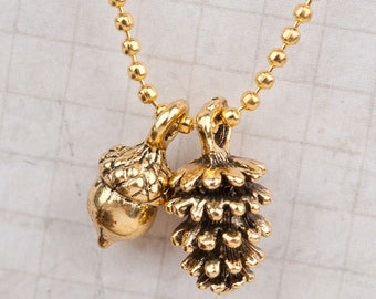 Pine Cone Acorn Necklace, Antique gold color, Fall Necklace