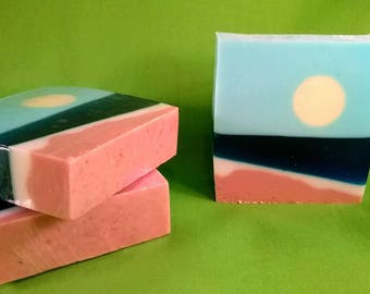 Ocean view soap, shea butter soap, beach soap, holiday stocking stuffer