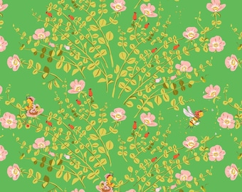 Heather Ross Briar Rose Nanny Bee In Green Fat Quarter