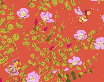 Heather Ross Briar Rose Nanny Bee In Coral Fat Quarter