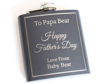 Father's Day Personalised engraved Hip Flask, Black stainless steel hip flask, Happy Father's Day Hip Flask, Father's Day Gift, Gift for Dad