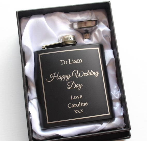 Personalised Hip Flask Engraved Black Hip Flask Gift For Etsy