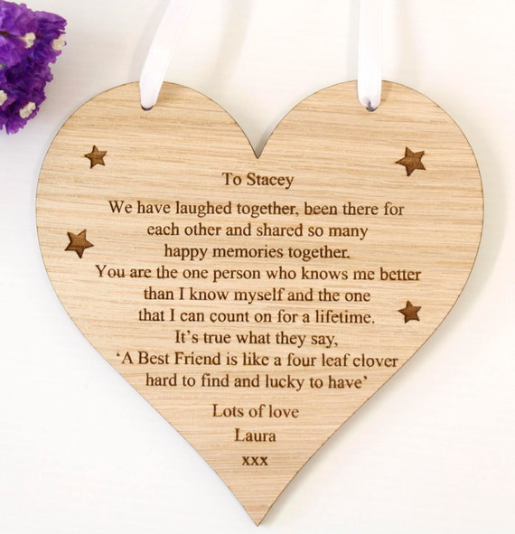 Personalised Best Friend Plaque Personalised Friend Wooden