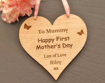 Happy First Mother's Day Heart Plaque, First Mother's Day Keepsake,Mother's Day Gift,First Mother's Day Gift,Mother's Day Heart Plaque
