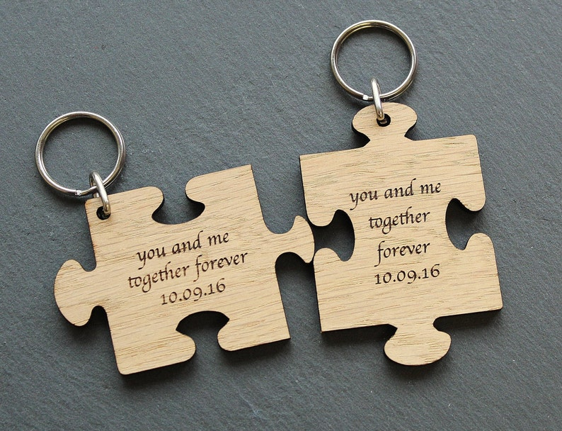 Personalised Puzzle piece keyring Wooden Jigsaw piece  5b2066e913