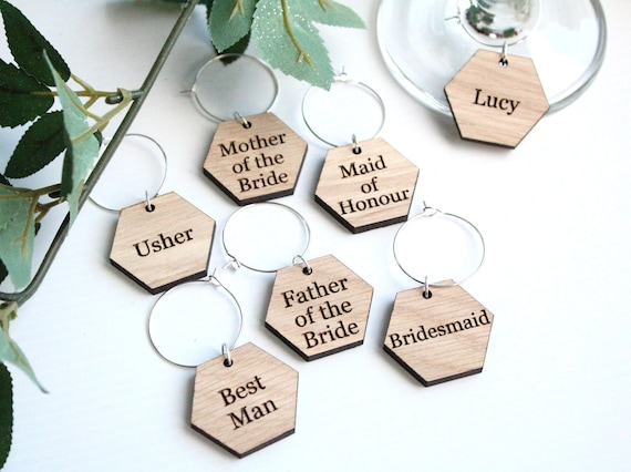 GROOM PERSONALISED WINE GLASS CHARMS WEDDING FAVOUR BRIDESMAID... BRIDE