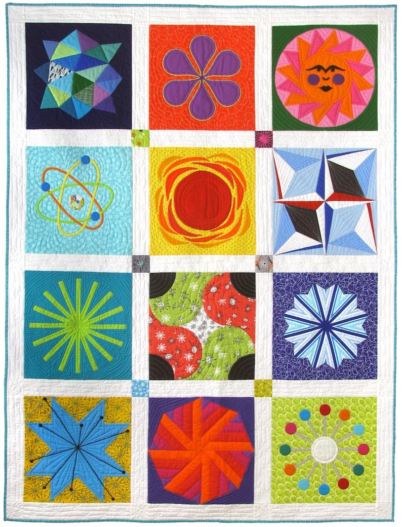 Atomic Starburst Sampler modern quilt pattern Mid-Century image 0