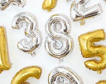 16 Inch Golden Foil Balloon Numbers (Matte)
