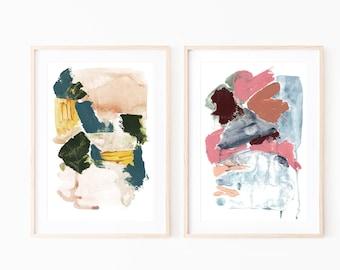 Set of 2 Abstract Prints,Wall Art set of 2,Printable Abstract Art,Abstract Wall Art,Brush Stroke Art,Wall Art Prints,Wall Art Watercolor