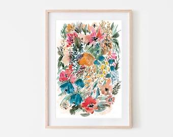 floral artwork,botanical wall art,flowers print,instant download art,colorful floral print,floral printable art,flowers watercolor art