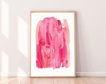 Watercolor Prinable,Waterclor Modern Art, Instant Download Art, Printable Abstract, Abstract Art Print, Pink wall art, Digital Waterolor Art