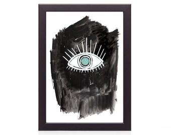 Modern Wall Art,Eye Print,INSTANT DOWNLOAD Printable Art,Digital Prints,Eye Art Print, Black and White Print, Modern Digital Print, Wall Art