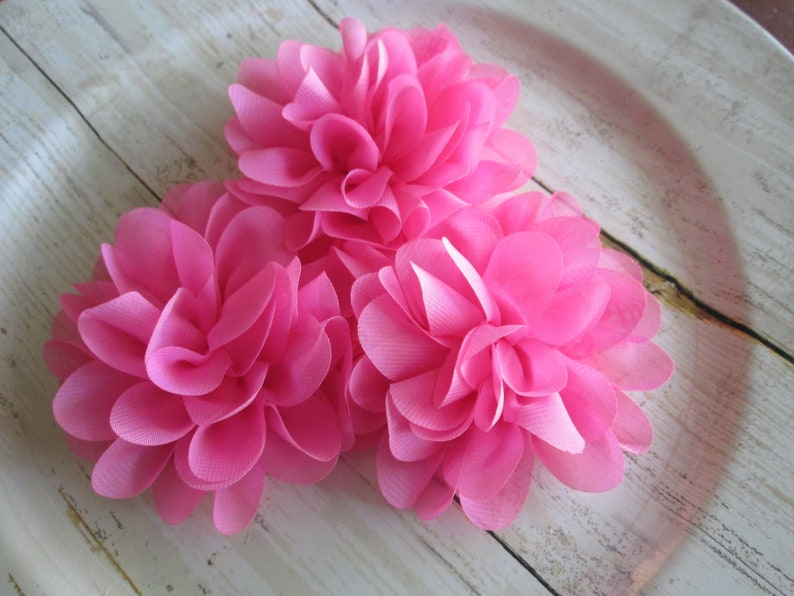 Lotus Flower Solid  Printed Colored -Large Supply Shop 3 BUBBLEGUM 3 Chiffon Layered Flowers -DIY Headband