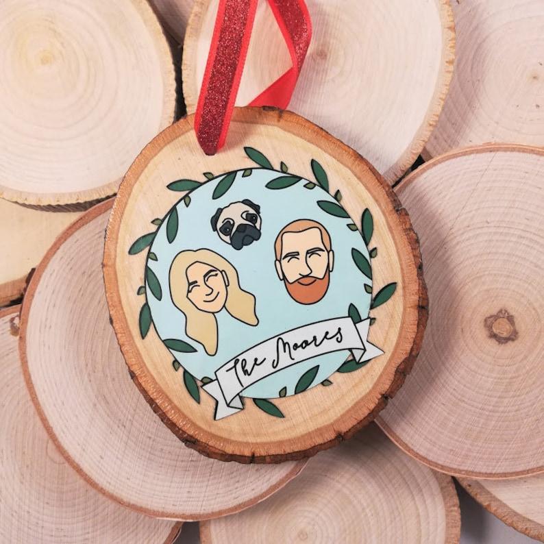Custom Portrait Ornament Personalized Ornament Family image 0