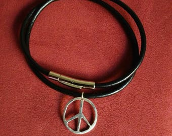 Sterling silver one of a kind peace sign necklace or bracelet