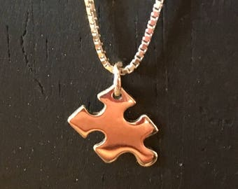 One of a kind Sterling silver puzzle piece autism awareness pendant
