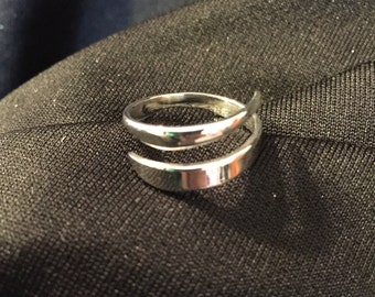One of a kind sterling silver wrap around ring size 6