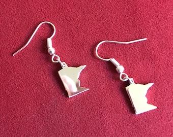 One of a kind sterling silver Minnesota earrings