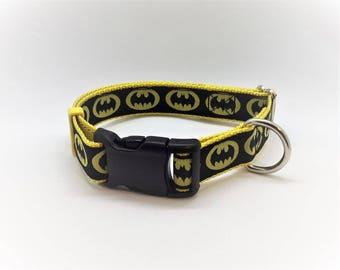 "Batman themed 1"" wide adjustable dog collar"