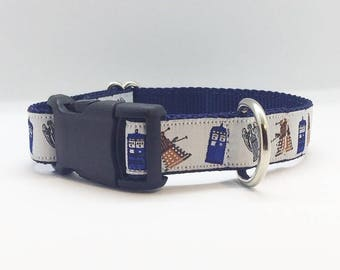 """Doctor Who themed 1"""" wide adjustable dog collar"""