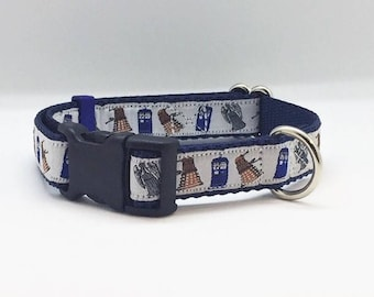 """Doctor Who themed 3/4"""" wide adjustable dog collar"""