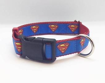 "Superman themed 1"" wide adjustable dog collar"
