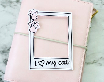 Die Cut | Polaroid I Love My Cat | Original Hand Drawn Planner Accessories