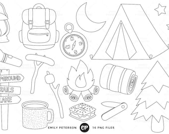 Camping Digital Stamps Summer Line Art Campground Clip