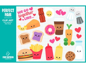 Valentine's Day Clip Art, Perfect Pair Clipart, Kawaii Food Clip Art - Commercial Use, Instant Download