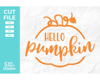Hello Pumpkin SVG, Autumn SVG - svg dxf eps png - Cutting File, Cut File - Commercial Use, Instant Download