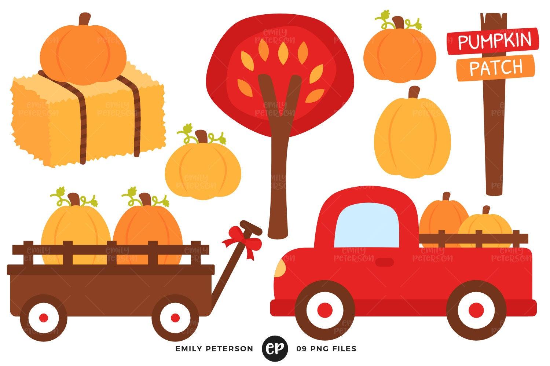 Pumpkin Patch Clip Art Fall Clipart Red Truck Clip Art | Etsy