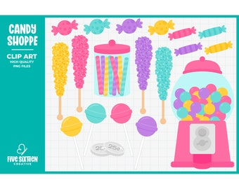 Candy Clip Art, Bubblegum Machine Clipart, Gumball Machine Clip Art - Commercial Use, Instant Download - V2