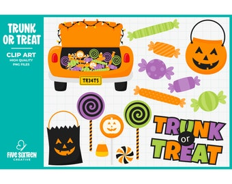 Trunk or Treat Clip Art, Halloween Candy Clipart, Trick or Treat Clip Art - Commercial Use, Instant Download