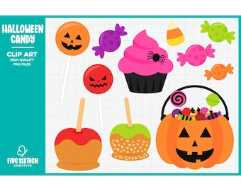 Halloween Candy Clip Art, Jack o' Lantern Clipart, Caramel Apple Clip Art - Commercial Use, Instant Download